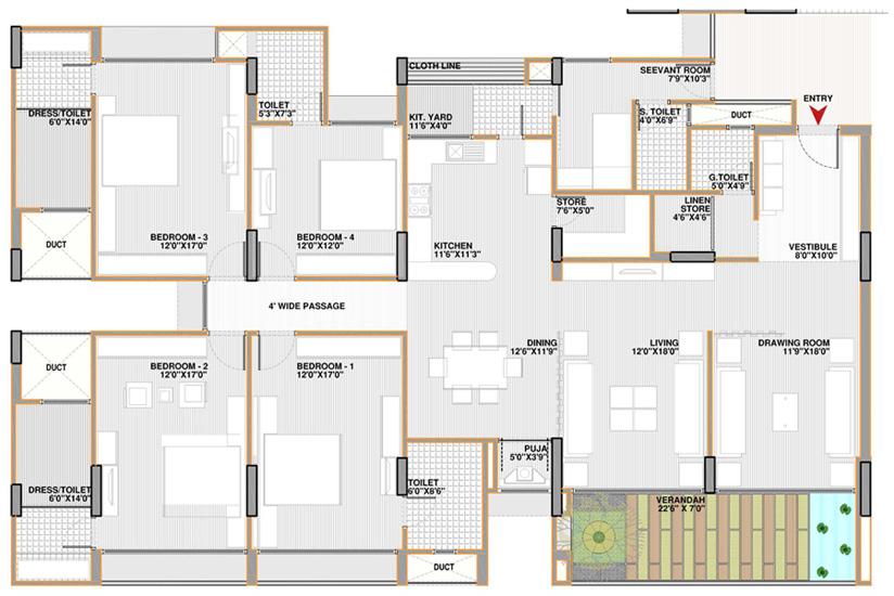 Apollo db city - Plan of four bedroom flat ...